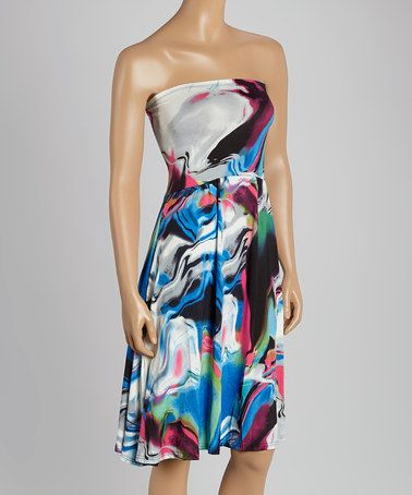 Loving this Fuchsia & Blue Abstract Strapless Tunic on #zulily! #zulilyfinds