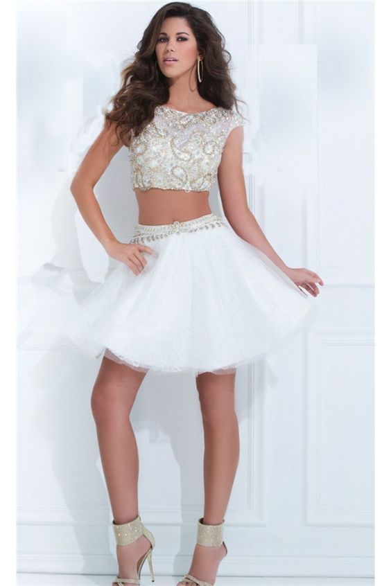Fashion Two Piece White Tulle Beaded Short Tutu Prom Dress  White ...