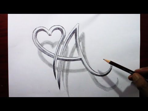 حرف A مدمج مع شكل قلب خدع رسم 3d A Letter With A Heart Shape Trick Drawing Youtube Youtube