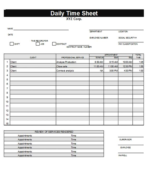 Daily Timesheet Template Daily timesheet template for JdT2kNuB - free timesheet forms