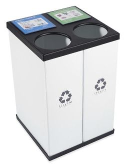 """Our double unit recycling bin, affordable, interchangeable signage, with great design. 20.5""""w  x 20.5""""d x 30.5""""h $23 shipping add at checkout. 33 Gallon each container. $97.00"""