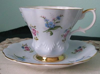 Royal-Albert-Forget-me-nots-Fine-Bone-China-Cup-And-Saucer-1950s #4244