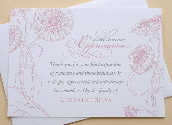 sympathy thank you cards thank you cards and pink flowers