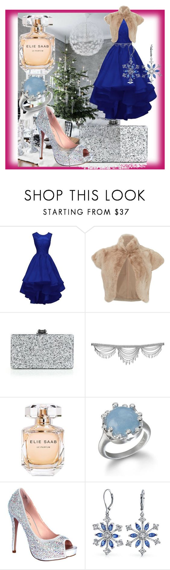 """Xmas outfit - the cool colors"" by theladyintheblackdress ❤ liked on Polyvore featuring Adrienne Landau, Edie Parker, Elie Saab, Lauren Lorraine and Bling Jewelry"