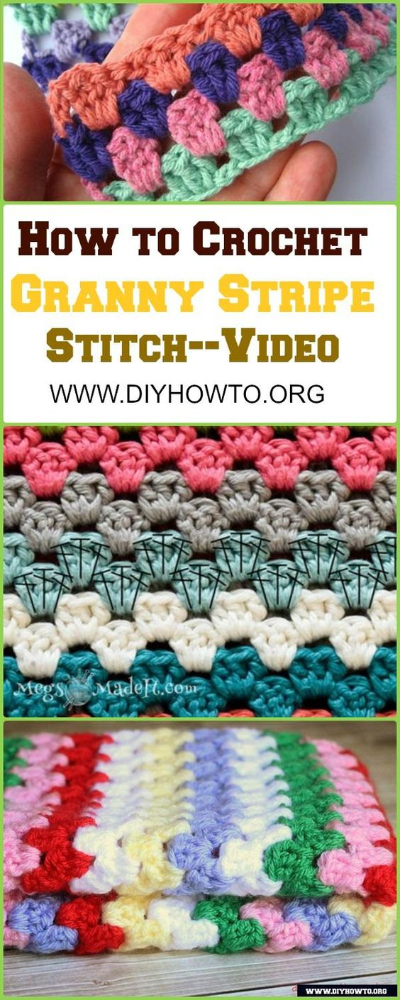 Crochet Granny Stripe Stitch Free Pattern with Picture Instruction - Video… #Crochet