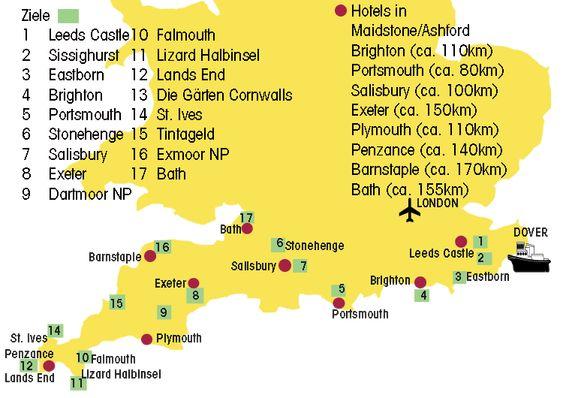 Karte für die Rundreise