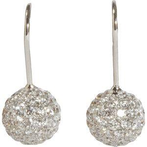 Shamballa Jewels Pave Diamond & White Gold Ball Drop Earrings - Polyvore