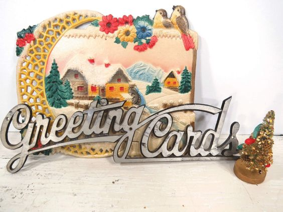 Christmas Card Wall Decor : Vintage metal greeting cards sign silvertone wall hanging