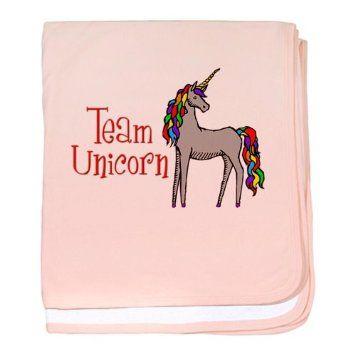 Amazon.com - Team Unicorn Rainbow baby blanket by CafePress - Petal Pink