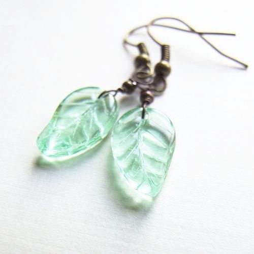 pastel mint leafs  adorable delicate romantic green by KicaBijoux, $6.00
