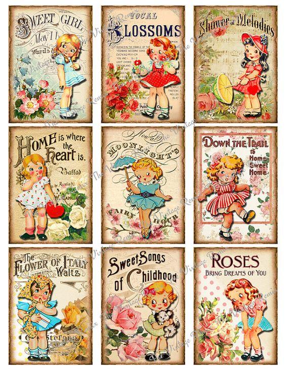 Vintage hawaiian girls collage sheet