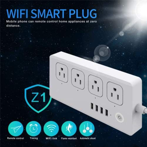 Iron M Wifi Smart Power Strip Surge Protector 4 Outlet 4 Usb With 5 Foot Cord Remote Control Via Smart Phone Work With Alexa Remote Control Smart Plug Wifi