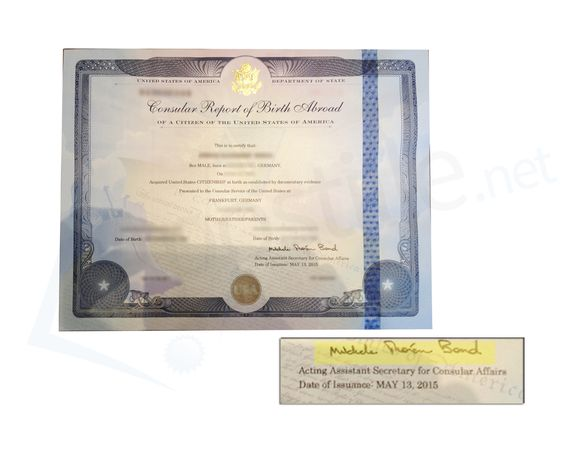 Consular Report of Birth Certificate signed by Assistant Secretary - mock birth certificate