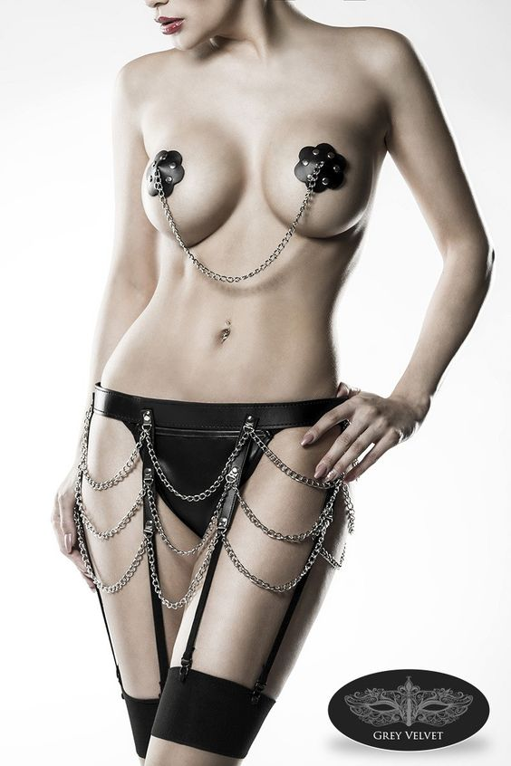 Fetisch Lederlook Dessous Set schwarz silber mit Nieten und Ketten