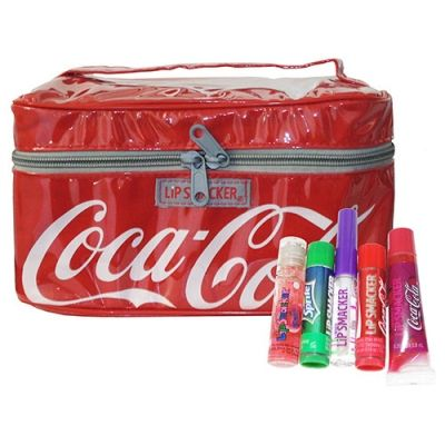 coca cola lip smacker 5 piece collection in cosmetic bag. Black Bedroom Furniture Sets. Home Design Ideas