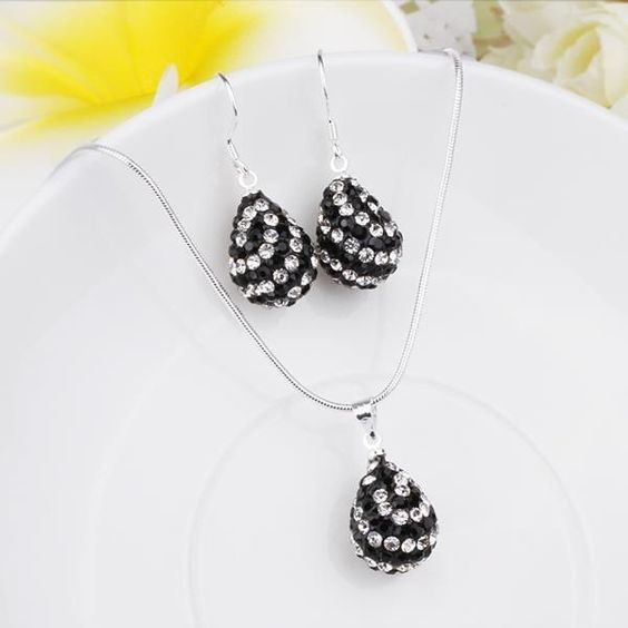 Austrian Crystal Element Multi-Pave Pear Earring and Necklace Set- and White, Women's