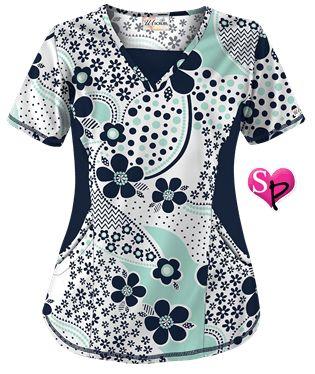 UA Garden Whimsy Navy V-neck Print Scrub Top Style # STN868GW  #uniformadvantage #uascrubs #garden #fashiontop #scrubs