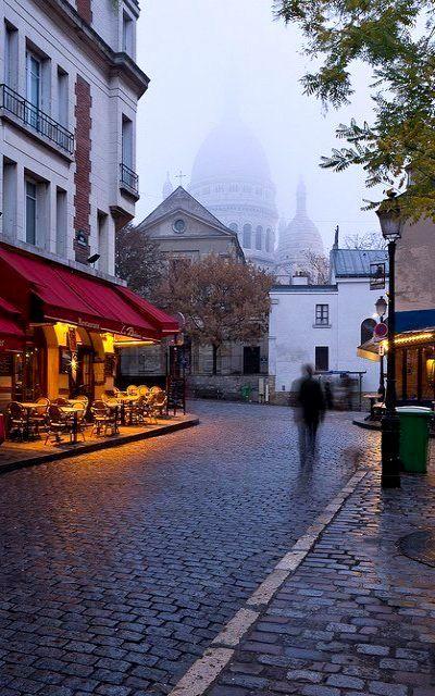 A misty morning near Sacré Cœur ~ Paris, France, by David Briard
