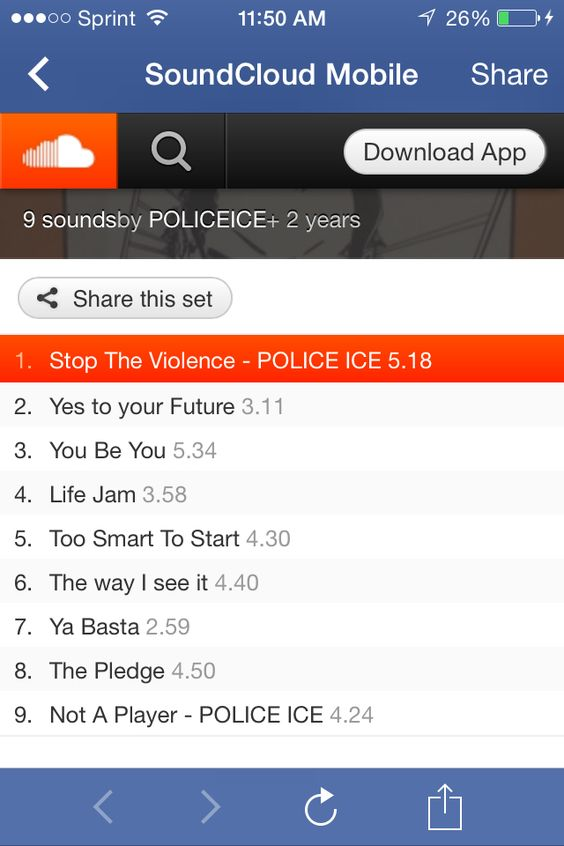 "The Free Album ""POLICE ICE - The Tour to Stop the Violence"" is now on #SoundCloud.  http://soundcloud.com/policeice/stop-the-violence-police-ice-1?utm_source=soundcloud&utm_campaign=mshare&utm_medium=email&utm_content=http://soundcloud.com/policeice/stop-the-violence-police-ice-1"