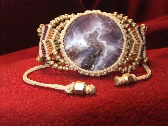 Amethyst Macrame Bracelet by TravelersGems on Etsy