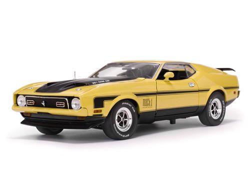1971 Ford Mustang Mach 1 Medium Bright Yellow Ram Air 351 1 18 Diecast Model Car By Sunstar
