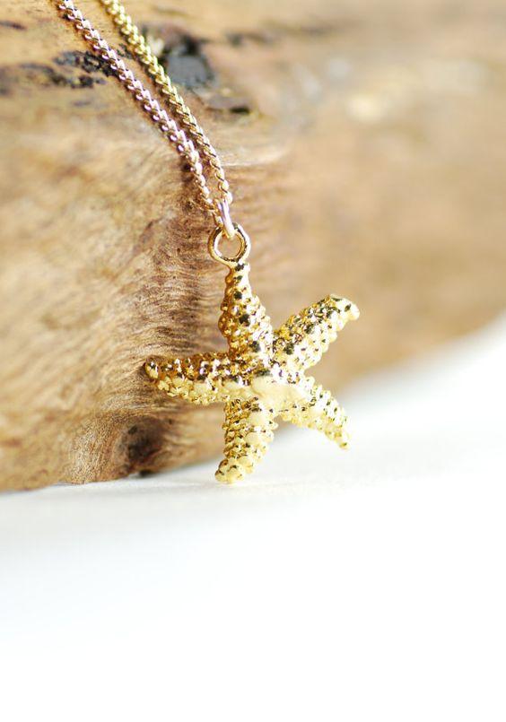 Hoku kai necklace - gold star fish necklace, starfish necklace, www.kealohajewelry.etsy.com maui, hawaii
