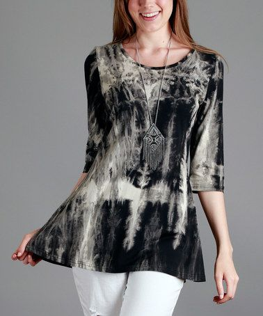 Another great find on #zulily! Black & Gray Tie-Dye Scoop Neck Tunic - Plus #zulilyfinds