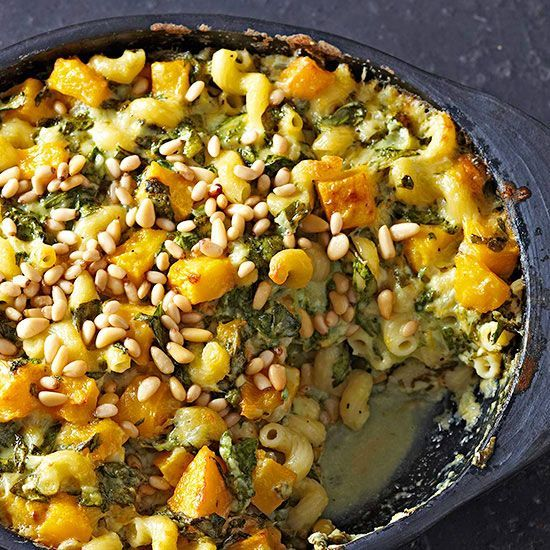 This elegant, meat-free casserole is super hearty (thanks spinach and squash) and packed with flavor (hello, fresh sage and pine nuts!)./
