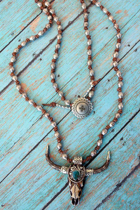 Knotted Leather and Silver Beaded Skull Necklace Boho Steer