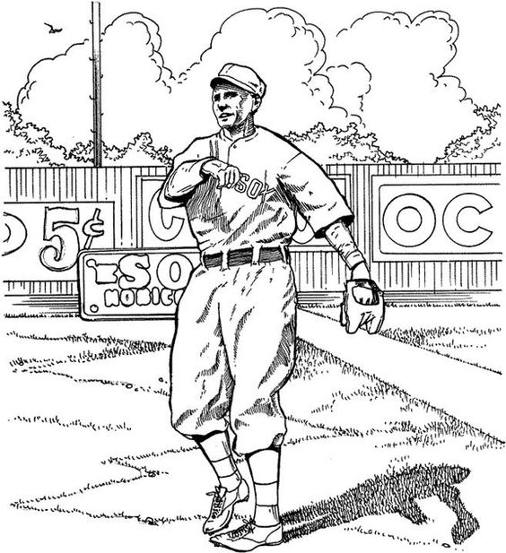 Red sox outfielder baseball coloring page purple kitty for Red sox coloring pages free