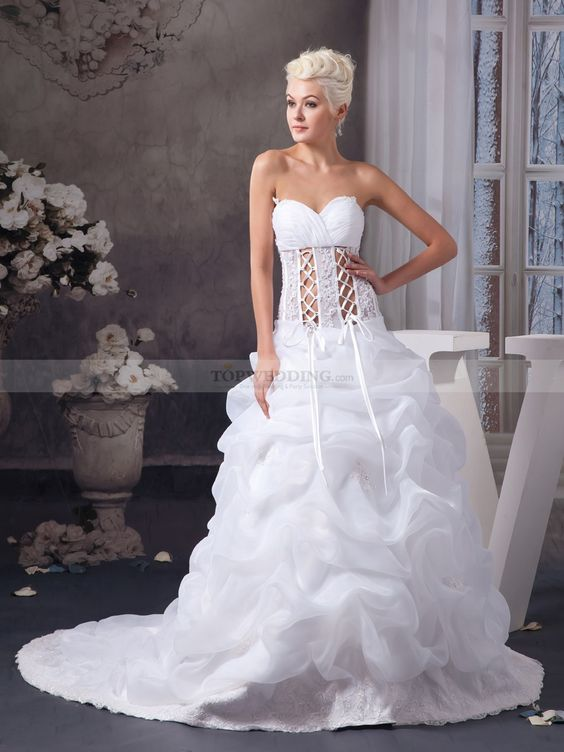 Strapless Sweetheart Organza Ball Gown with Lace Up Front