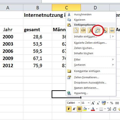 Excel Tabelle Drehen Tabelle Internetnutzung Mathematik