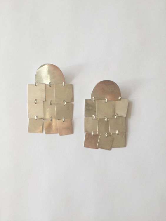 Annie Costello Brown Cubes Chandelier Earrings - All: