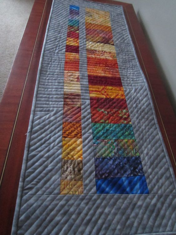 Modern quilted table runner by sandydekker1 on Etsy, $36.00: