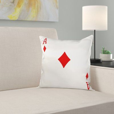 East Urban Home Ace of Diamonds Playing Card Pillow Cover