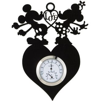 [Disney Mickey & Friends] silhouette thermometer and hygrometer; hygrothermograph - Mickey & Minnie