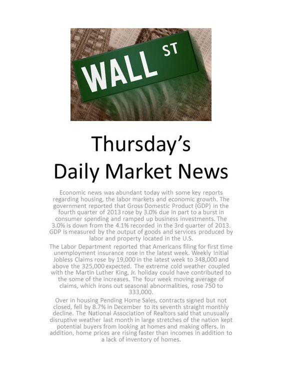 Thursday Market News 1-30-14. www.equitysourcemortgage.com