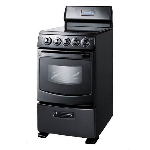 "Electric Range Smooth Top Cooking Surface Summit On In: Summit Jet Black 20"" Electric Range"