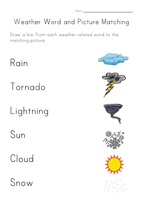 Weather Match Printable – Weather Worksheet for Kindergarten