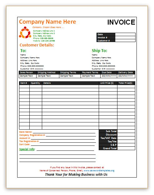 Sales Invoice templatesavewordtemplatesorgsales – Sales Invoice Template Word