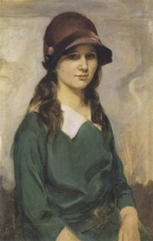 Portrait of a young woman by James Peter Quinn