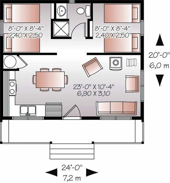 20x24 39 floor plan w 2 bedrooms floor plans pinterest for Small house plan drawing