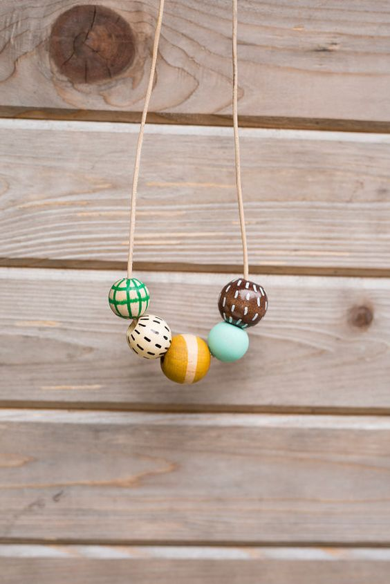 Copy of Copy of Hand Painted Wooden Bead Necklace // Rosemary & Thyme // by Anna Joyce: