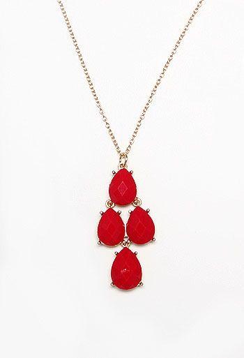 4 Stone Teardrop Cluster Pendant Necklace
