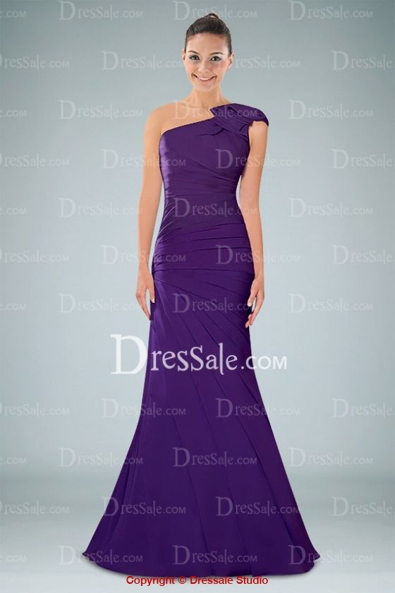 I'd order this one in Dark Navy- Gorgeous Purple One-shoulder Floor-length Evening Dress with Pleats and Ruffles