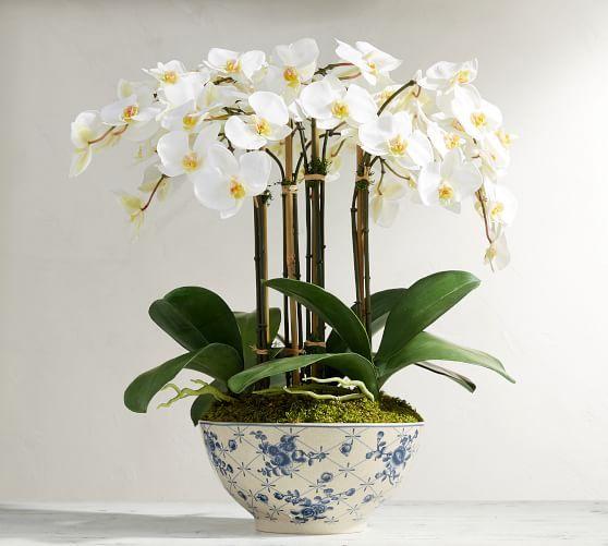 Faux Orchid In Rose Trellis Bowl Rose Trellis Hydrangea Arrangements Faux Flowers