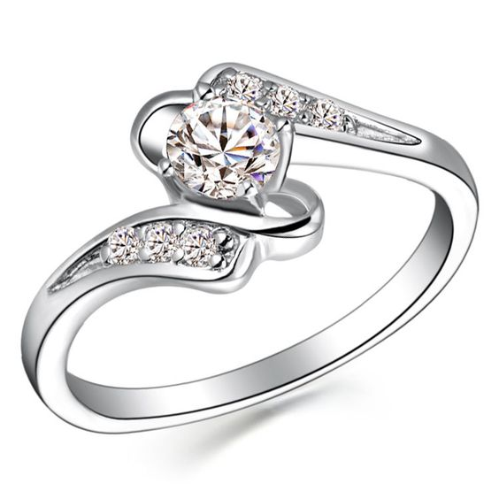 925 Sterling Silver Micro inserts Diamante Ring