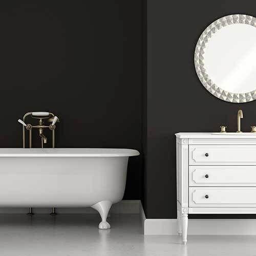 Pitch Black Wallpaper Of Tempaint In Bathroom Black Wallpaper Interior Design Bedroom Small Peel And Stick Wallpaper