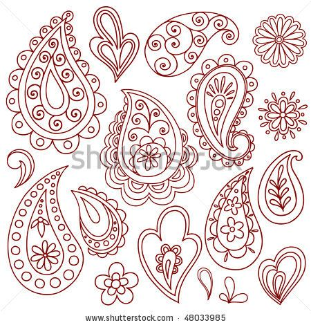 Hand-Drawn Abstract Henna (mehndi) Paisley Vector Illustration Doodle Design Elements by blue67design, via Shutterstock