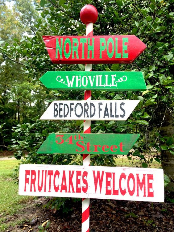 North pole sign yard sign inside outside city town for Outdoor christmas signs